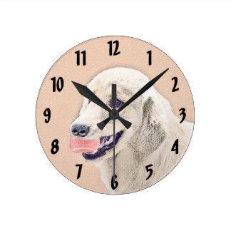 Relógio Redondo Golden retriever com arte do cão da pintura da