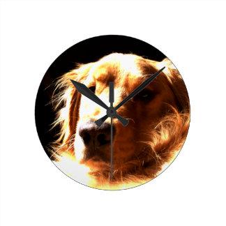 Relógio Redondo Golden retriever na luz solar