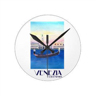 Relógio Redondo Gôndola de Veneza Italia no canal grande com San