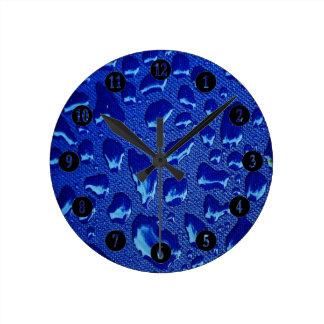 Relógio Redondo Gotas de água azul profundas