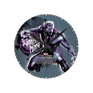 Relógio Redondo Gráfico do guerreiro da pantera preta | do rei