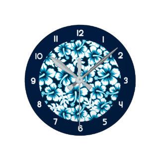 Relógio Redondo Gráfico do surf floral