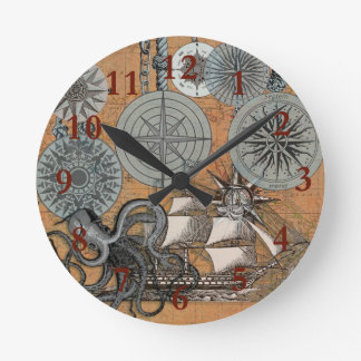 Relógio Redondo Gráfico náutico do impressão da arte da navigação