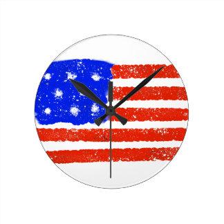 Relógio Redondo Grão cru da bandeira dos E.U.