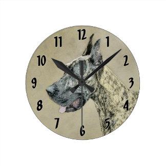 Relógio Redondo Great dane (rajado) que pinta - arte original do
