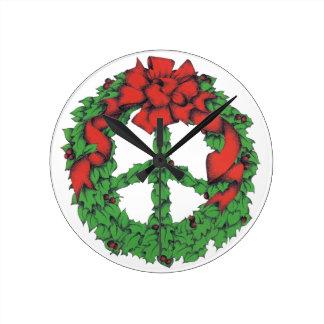 Relógio Redondo Grinalda da paz do feriado