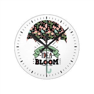 Relógio Redondo Guarda-chuva da flor da ideia