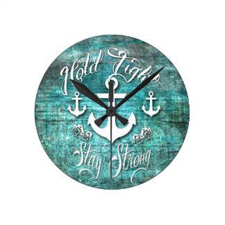 Relógio Redondo Guardare firmemente, arte náutica inspirada forte