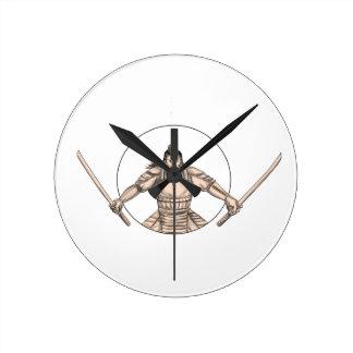 Relógio Redondo Guerreiro do samurai que Wielding o tatuagem de