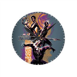 Relógio Redondo Guerreiros da pantera preta | Wakandan pintados