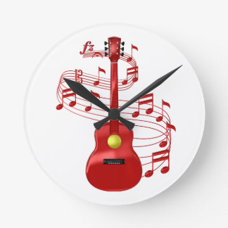 Relógio Redondo Guitarra acústica vermelha com notas da música