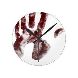 Relógio Redondo Handprint do sangue do assassino em série