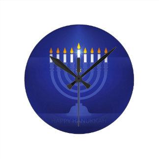 Relógio Redondo hanukkah feliz azul