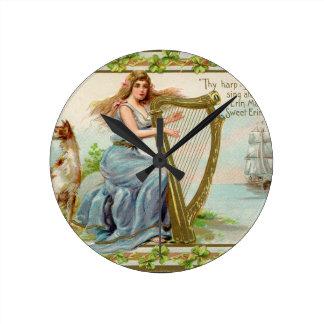 Relógio Redondo Harpa & senhora originais do dia de patrick de