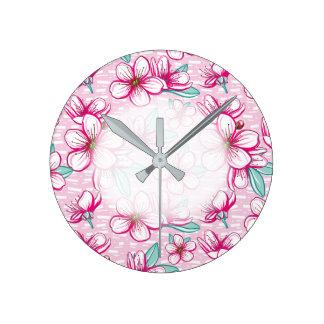 Relógio Redondo Hawaiian da flor de cerejeira Aloha