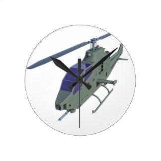 Relógio Redondo Helicóptero de Apache na vista dianteira
