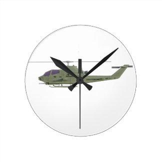 Relógio Redondo Helicóptero de Apache no perfil da vista lateral