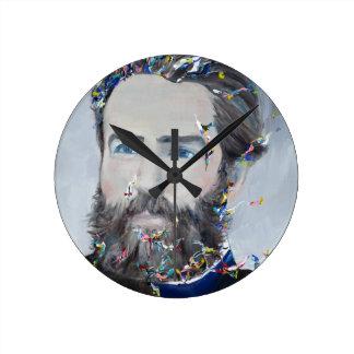 Relógio Redondo Herman Melville - retrato do óleo