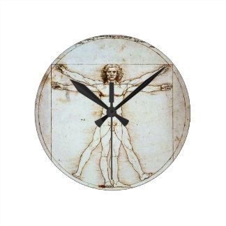 Relógio Redondo Homem de Vitruvian, Leonardo da Vinci, cerca de