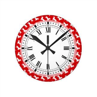 Relógio Redondo Hora de andar a cor do costume do Dachshund