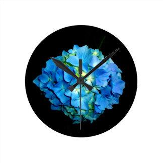 Relógio Redondo Hydrangea azul