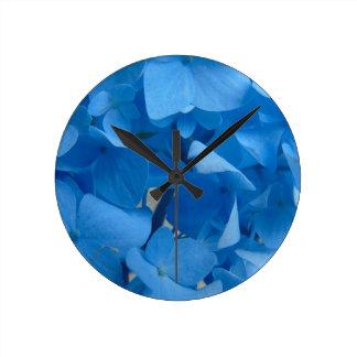 Relógio Redondo Hydrangeas azuis