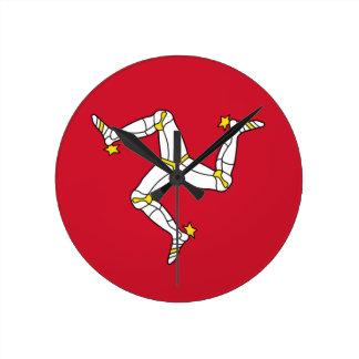 Relógio Redondo Ilha da bandeira do homem - bandeira Manx -