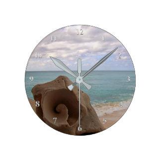 Relógio Redondo Ilha das Caraíbas tropical do Seashell da praia