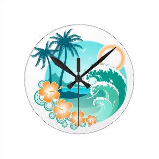 Relógio Redondo Ilha havaiana 1