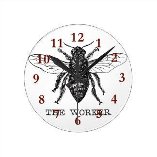 Relógio Redondo Ilustração da antiguidade do mel do zangão da