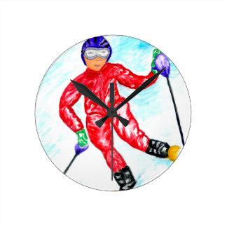 Relógio Redondo Ilustração do esporte do esquiador