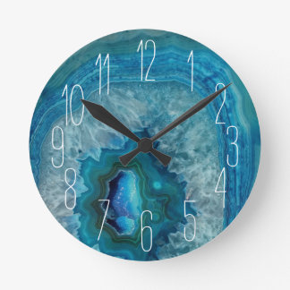 Relógio Redondo Imagem mineral do cristal da ágata da rocha azul