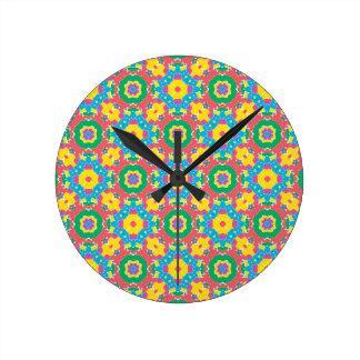 Relógio Redondo Impressão colorido geométrico