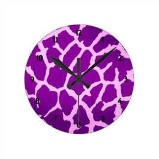 Relógio Redondo Impressão roxo do girafa