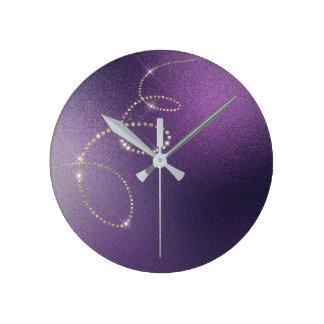 Relógio Redondo Infinidade congelada do ouro do falso cristal roxo
