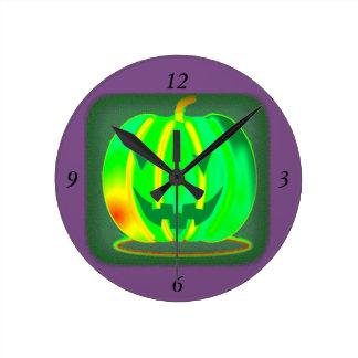 Relógio Redondo Jack verde o Dia das Bruxas o'lantern Thunder_Cove