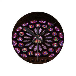 Relógio Redondo Janela da catedral de Leon, EL Camino, espanha