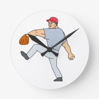 Relógio Redondo Jarro do jogador de beisebol pronto para jogar a