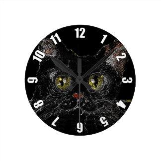 Relógio Redondo JASPE - seu gato preto do DIA DAS BRUXAS