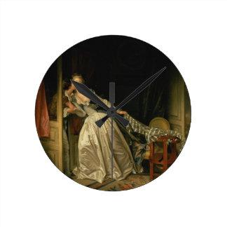 Relógio Redondo Jean-Honore Fragonard - o beijo roubado - belas