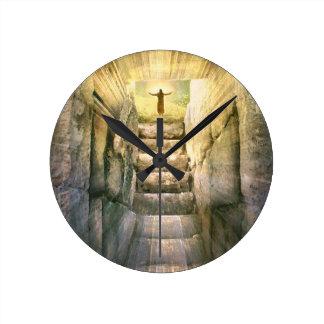 Relógio Redondo Jesus na ressurreição vazia da páscoa do túmulo