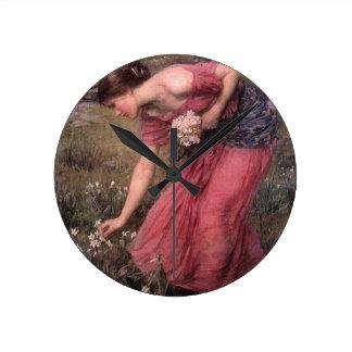 Relógio Redondo John William Waterhouse - narciso - belas artes