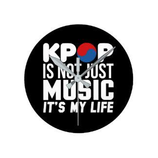 Relógio Redondo Kpop é meus gráficos do slogan da vida (escuros)