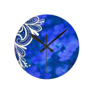 Relógio Redondo Laço branco floral azul chique boémio feminino