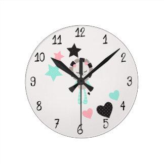 Relógio Redondo Leão bonito do ponto morto da decoração do riso do