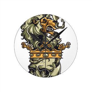 Relógio Redondo leão do vintage no crânio inoperante