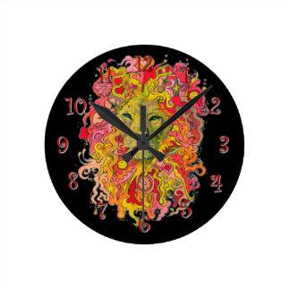 Relógio Redondo Leão psicadélico