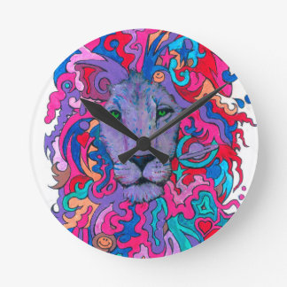 Relógio Redondo Leão psicadélico roxo