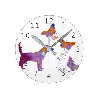 Relógio Redondo Lebreiro e borboletas