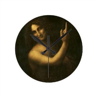 Relógio Redondo Leonardo da Vinci - pintura de John The Baptist do